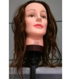 Cabeza de practicas de peluqueria pelo natural 40cm