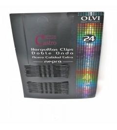 Horquillas clip negras  doble onda 24unid. Olvi